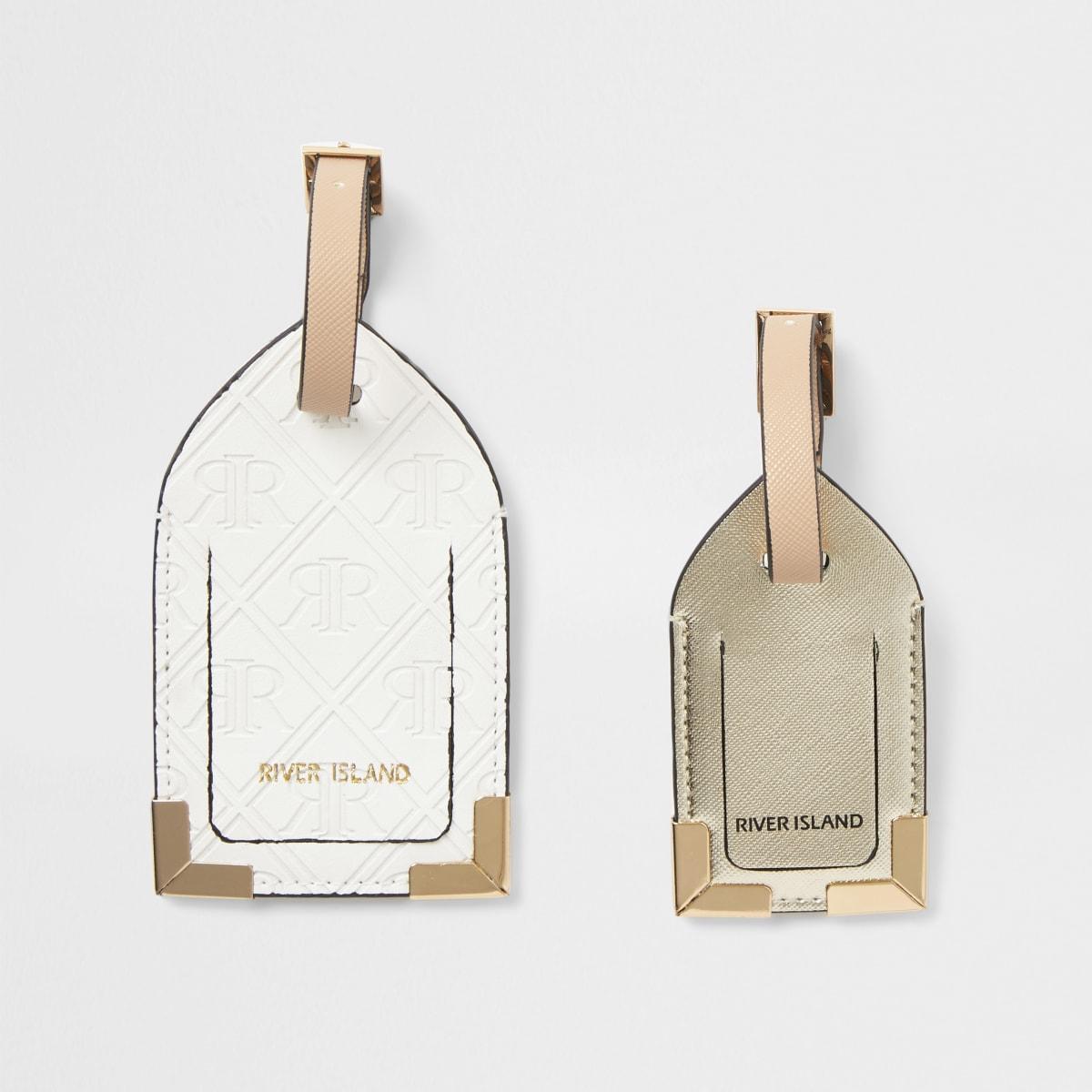 White embossed luggage tag set