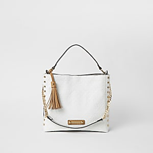 White embossed slouch bag