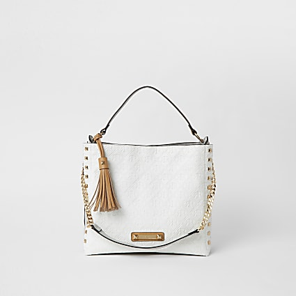 White embossed slouch Handbag