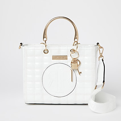 White embossed tote bag