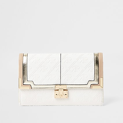 White embossed travel wallet