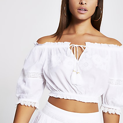 White embroidered bardot beach crop top