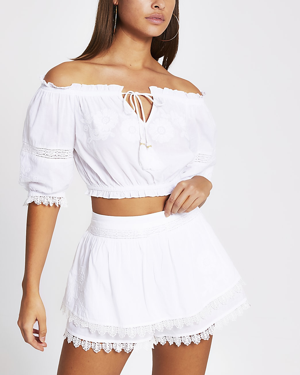 White embroidered beach shorts
