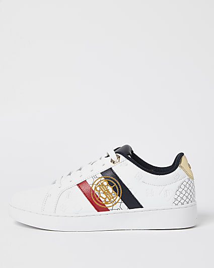 White embroidered lace up trainers