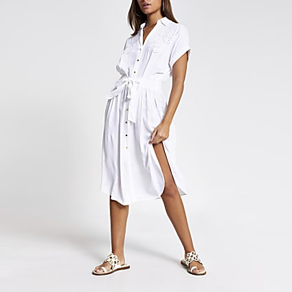 White embroidered midi shirt beach dress