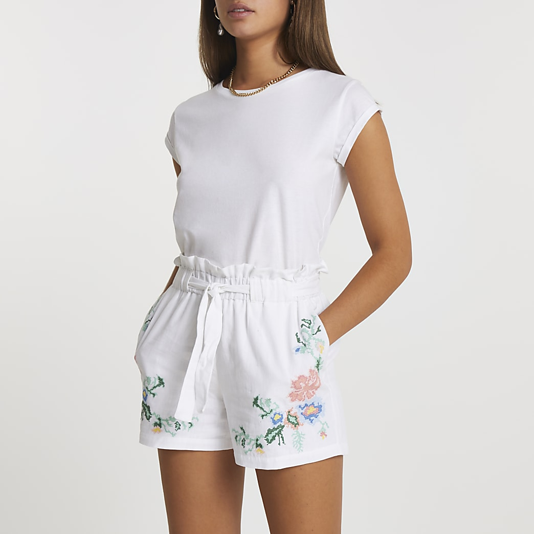 White embroidered paper bag shorts