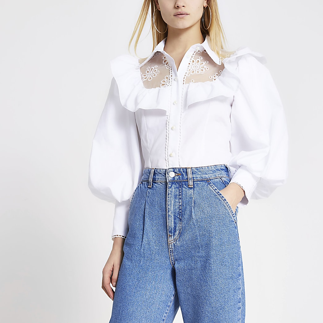 White embroidered puff sleeve frill shirt