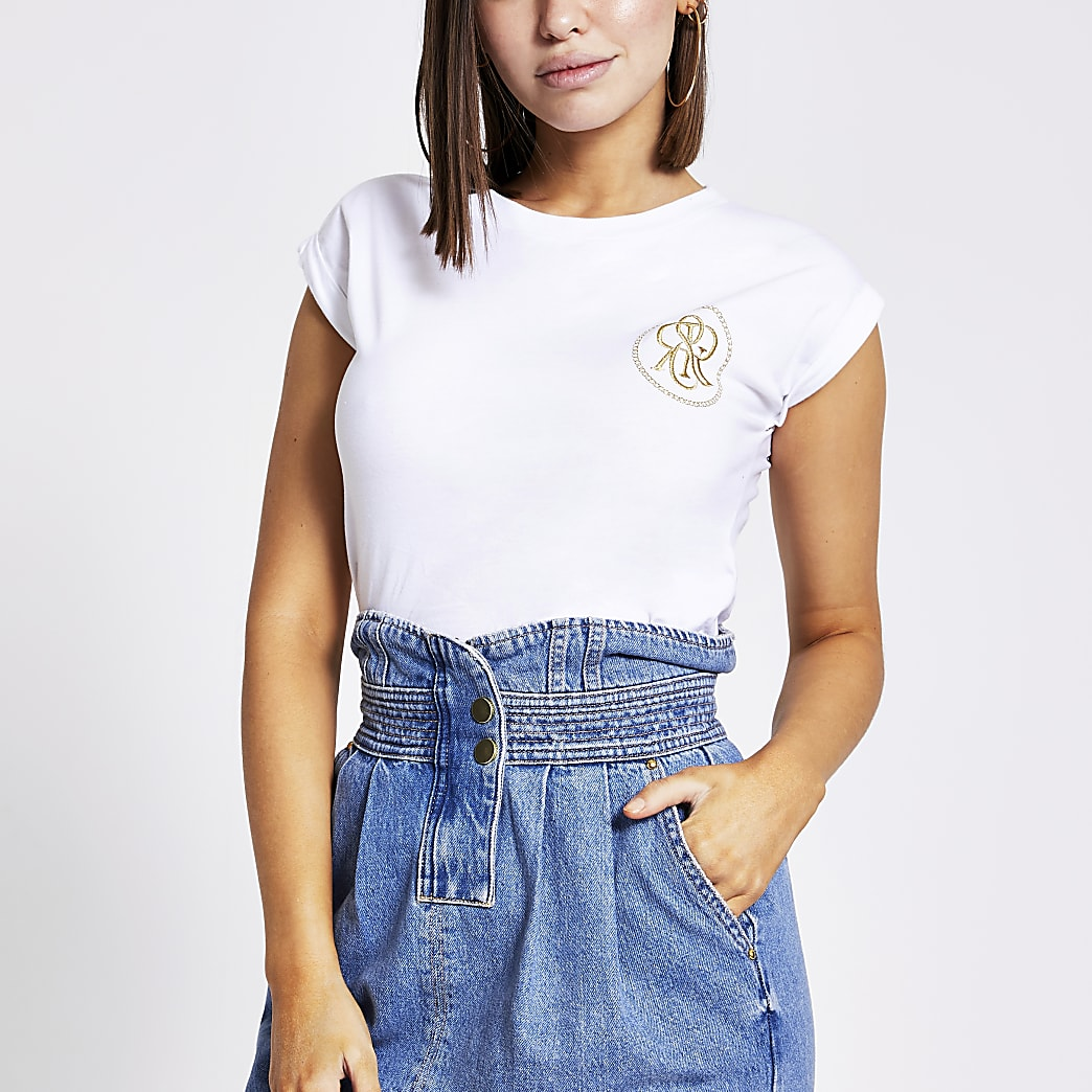 White embroidered short sleeve T-shirt