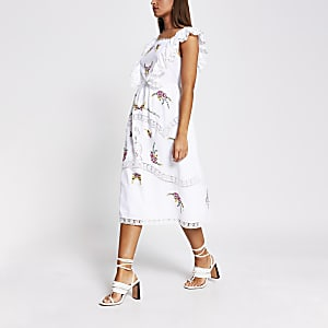 White embroidered sleeveless midi dress