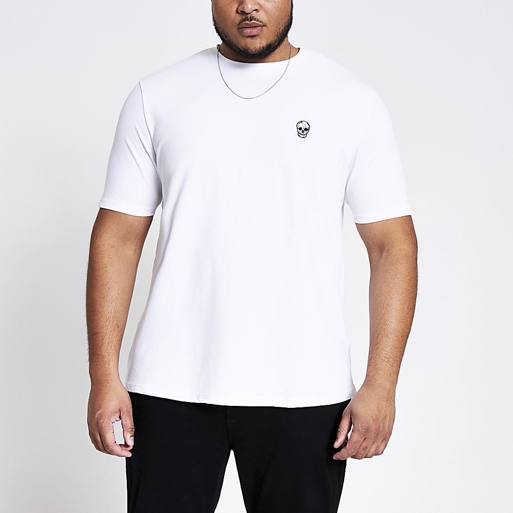 Wit slim-fit T-shirt met borduursel