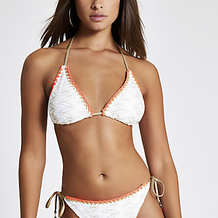 White embroidered triangle bikini top