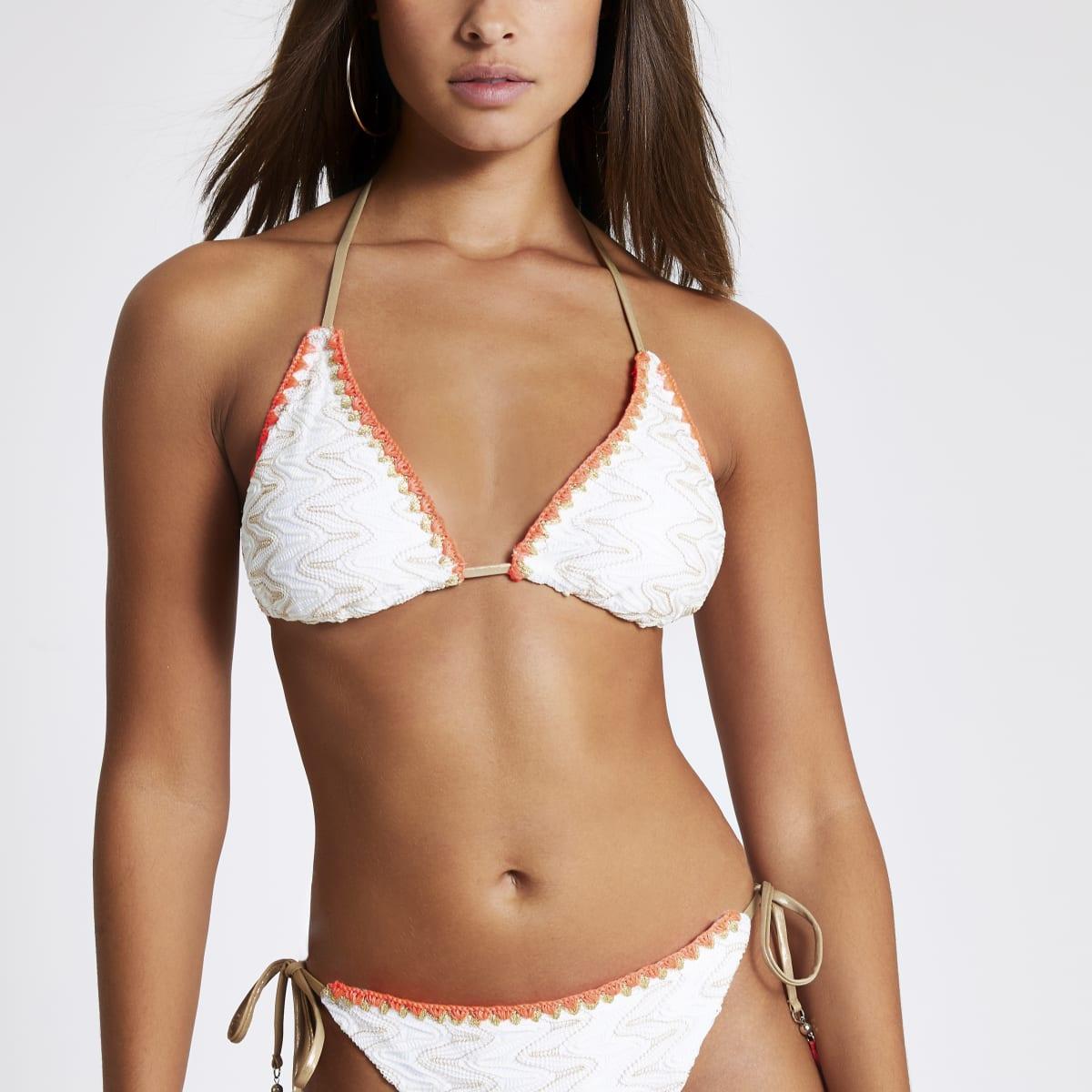 White embroidered triangle bikini top