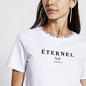 Wit T-shirt met korte mouwen en 'Eternel'-print
