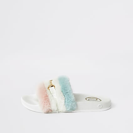 White faux fur snaffle front sliders
