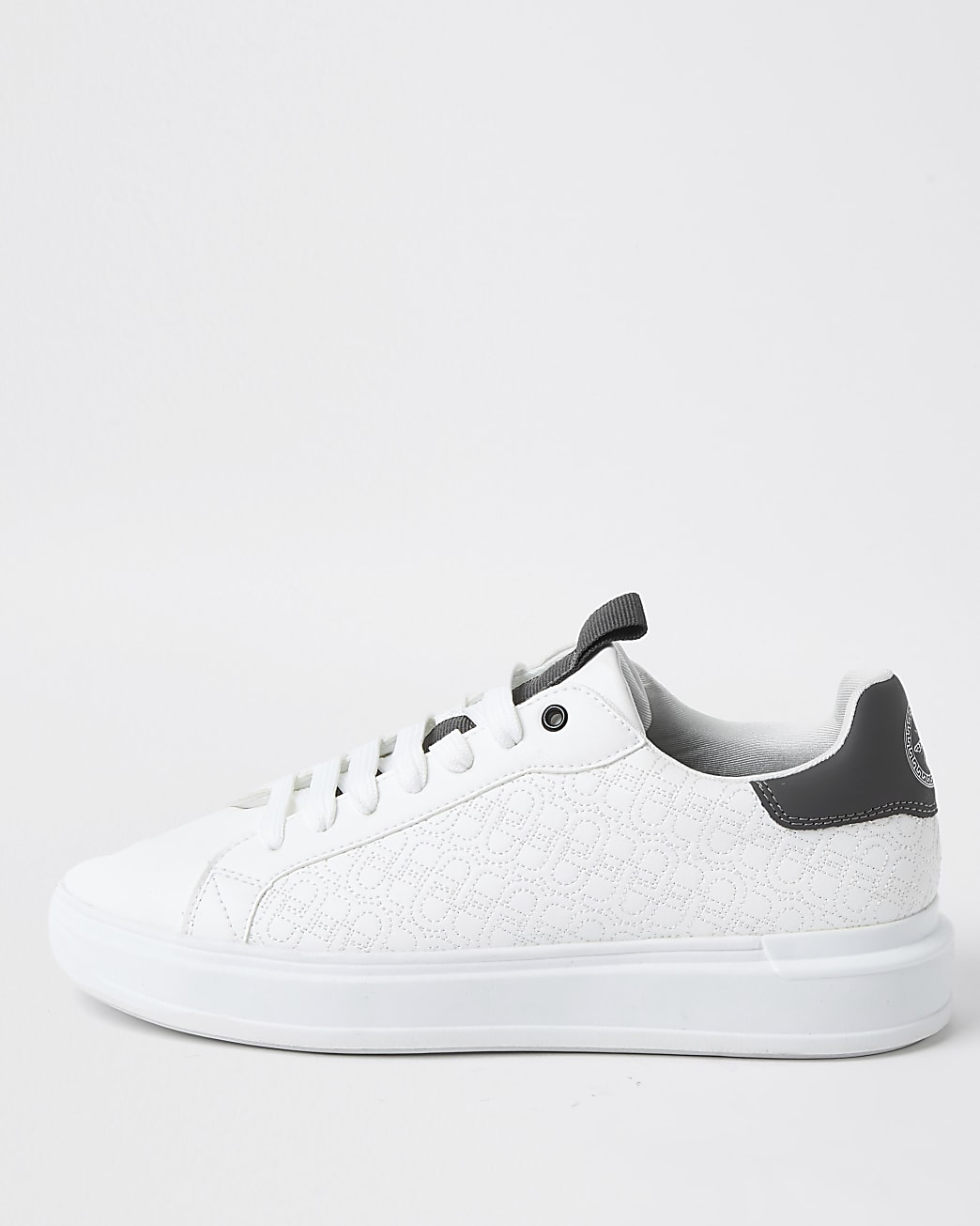 White faux leather quilted design trainers