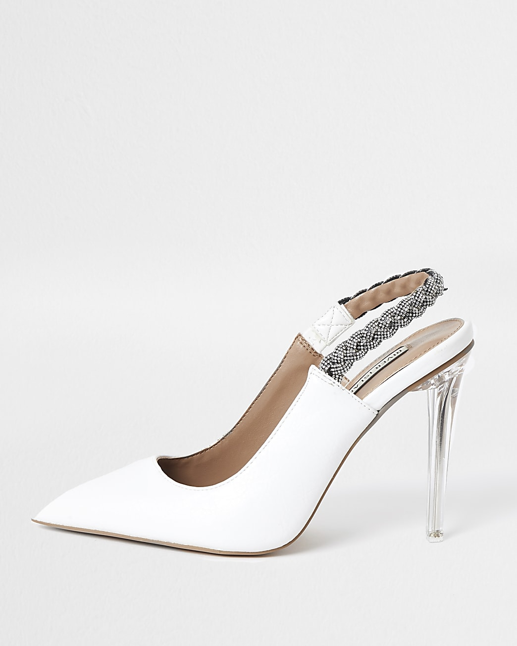 White faux leather sling back court shoes