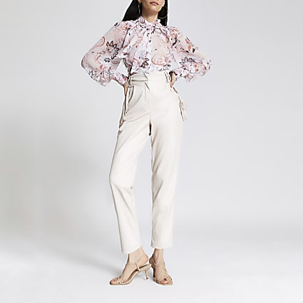 White faux leather tassel fitted trousers