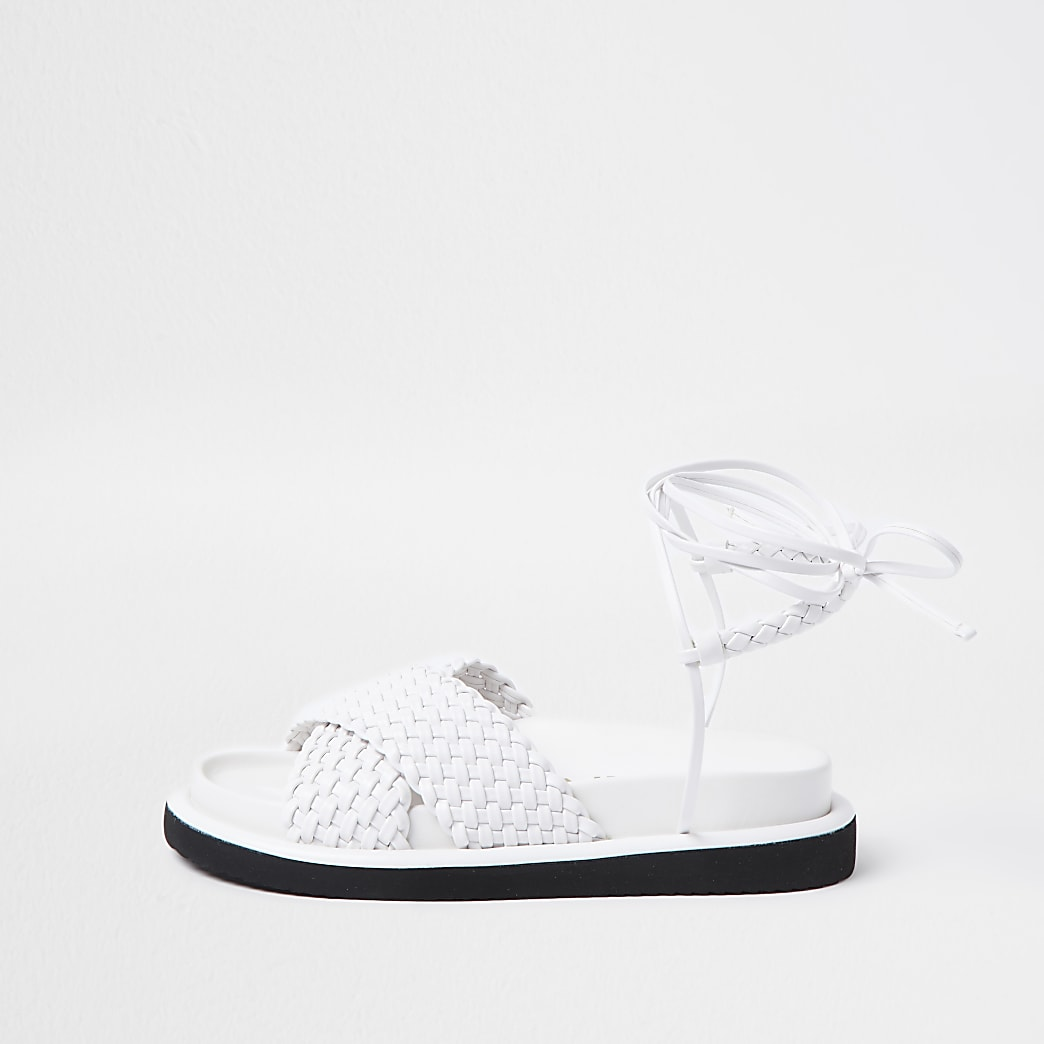 White faux leather weave ankle tie sandals