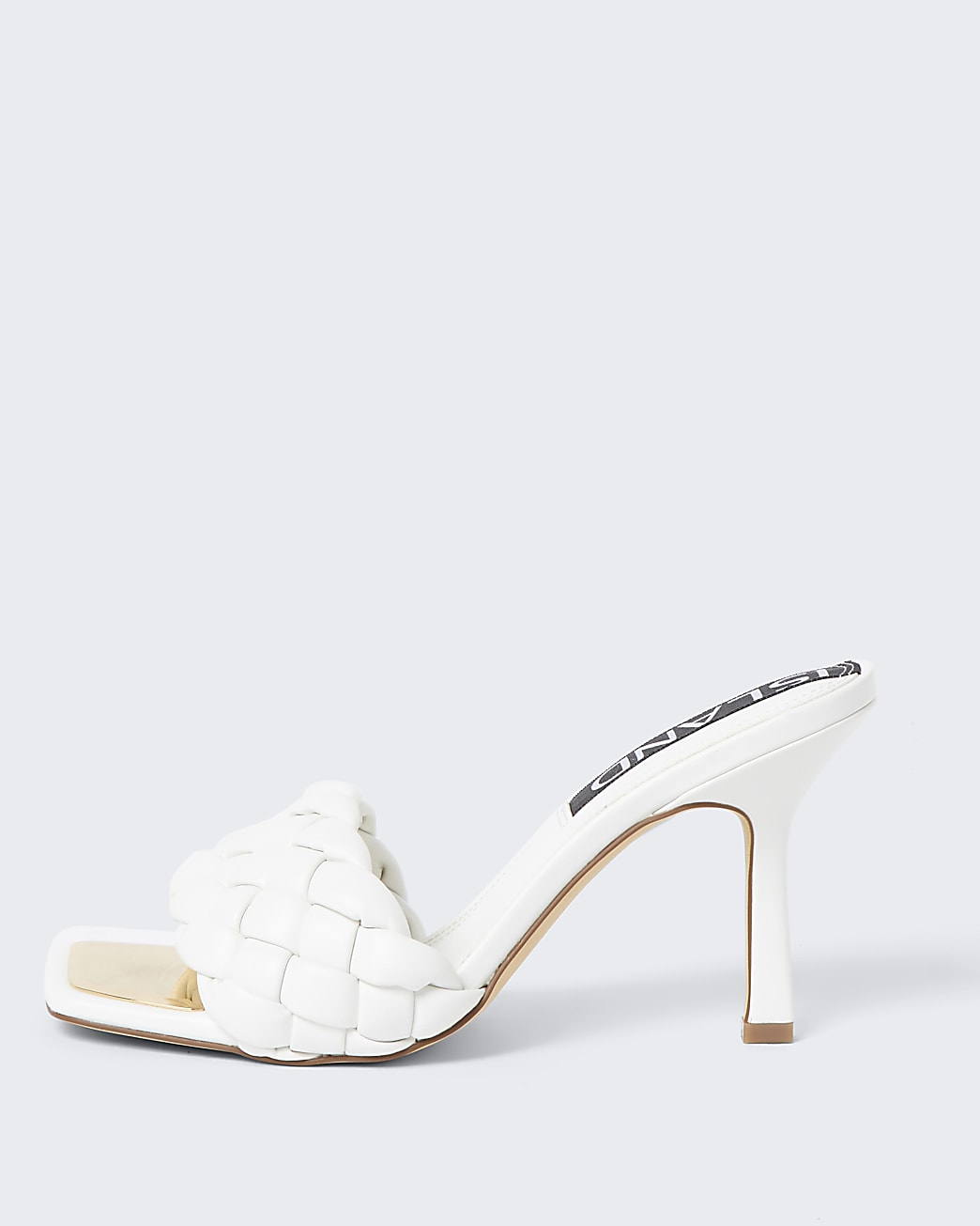 White faux leather woven high heel sandal