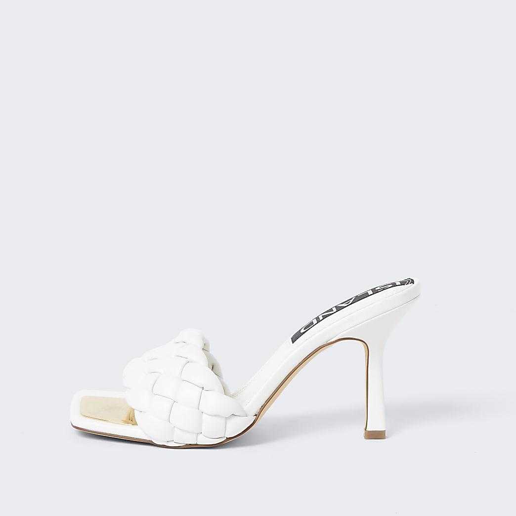 White faux leather woven sandal