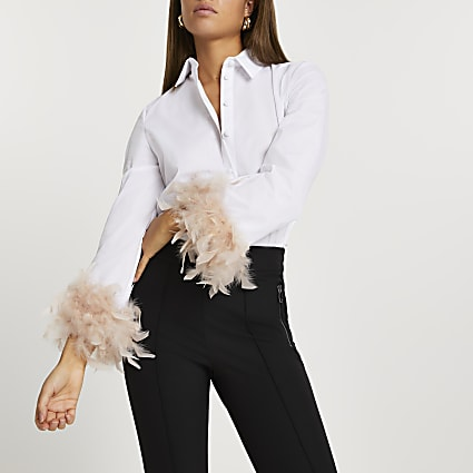 White feather cuff poplin shirt