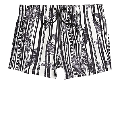 White feather print slim fit swim shorts