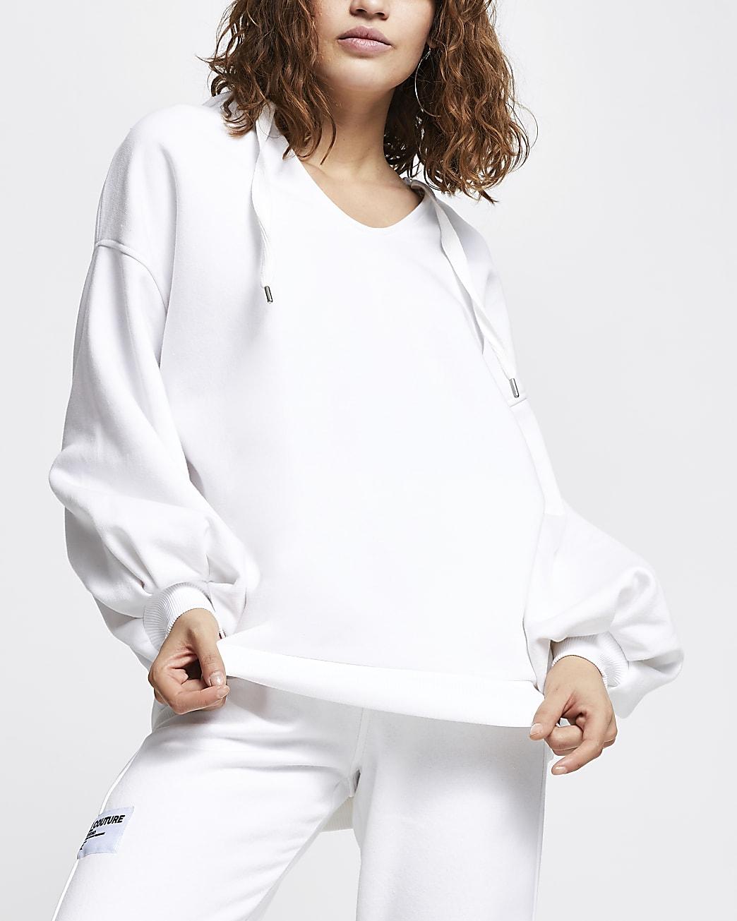 White fleece oversized hoodie