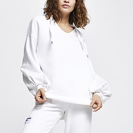 White Fleece Oversized Hoody