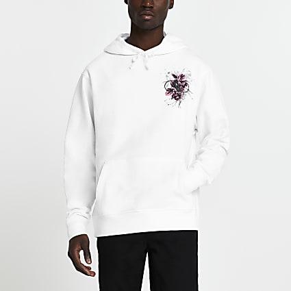 White floral back print hoodie