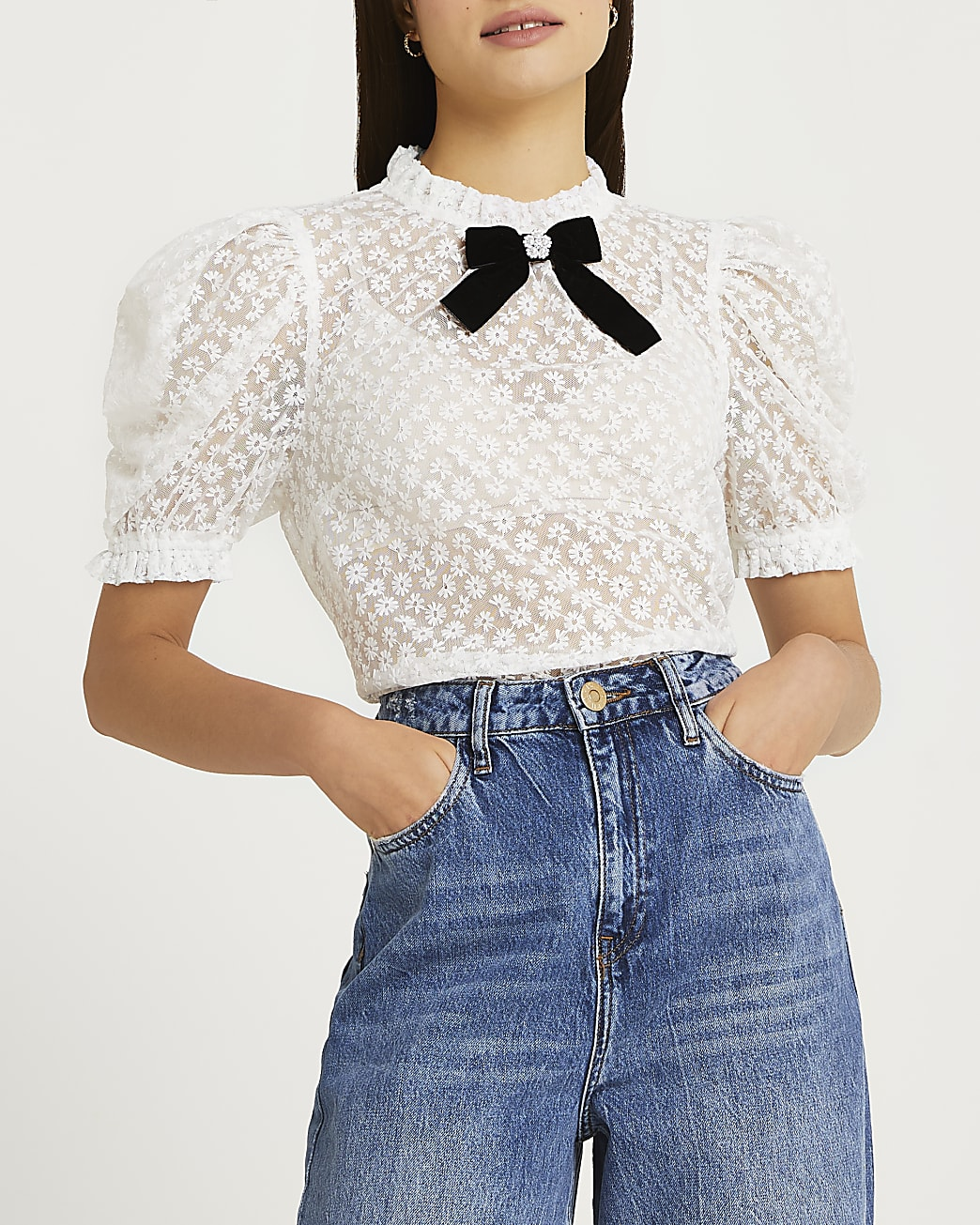 White floral bow neck top