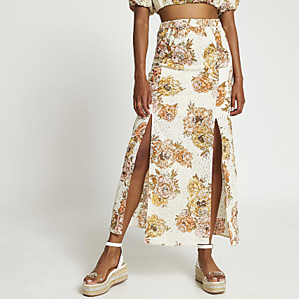 White floral broderie double split maxi skirt