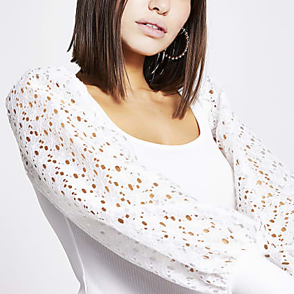 White floral broderie sleeve top