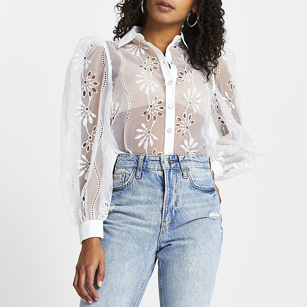 White floral cut out organza shirt