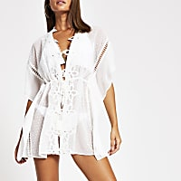 White floral embroidered beach kaftan