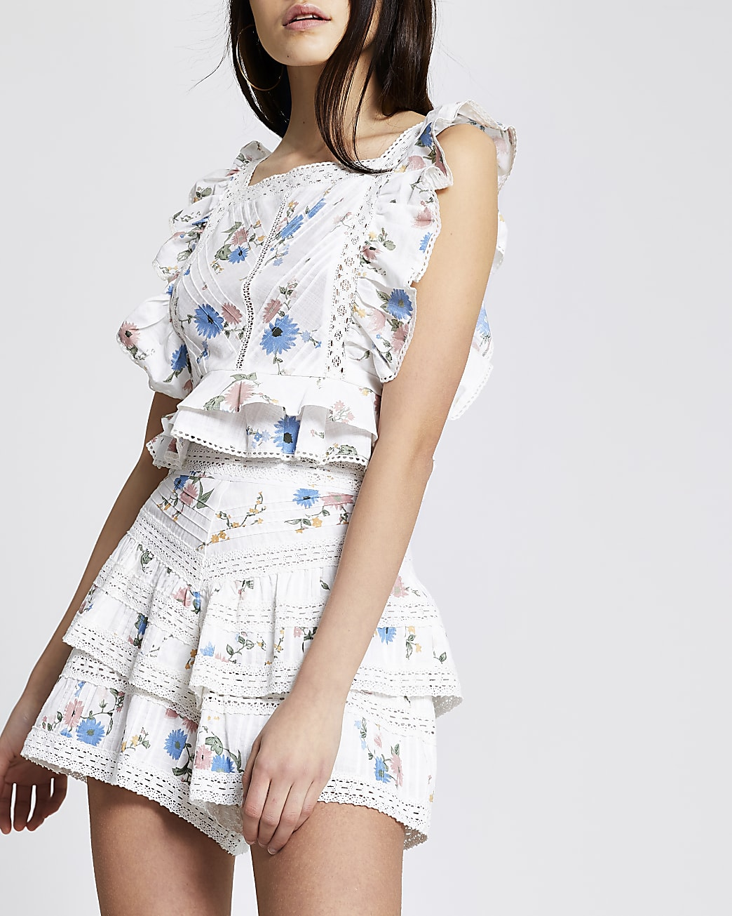 White floral frill cropped top