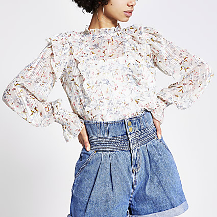 White floral frill long sleeve blouse