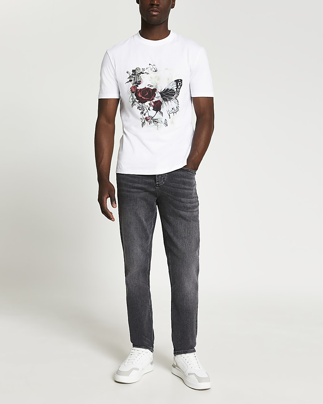 White floral graphic slim fit t-shirt