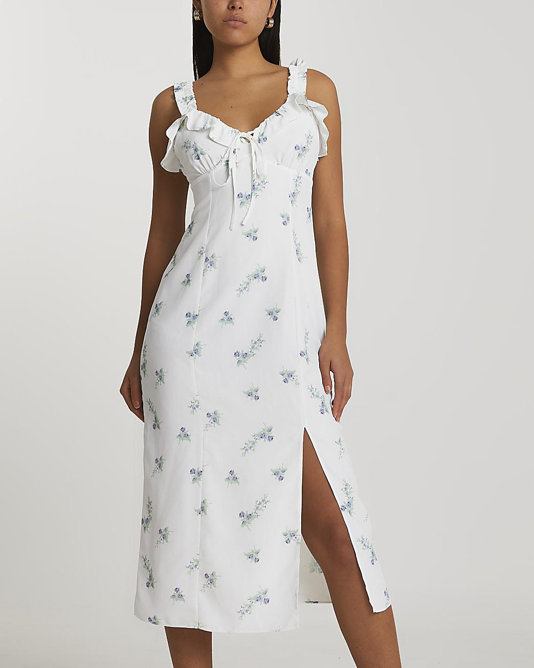 White floral midi slip dress