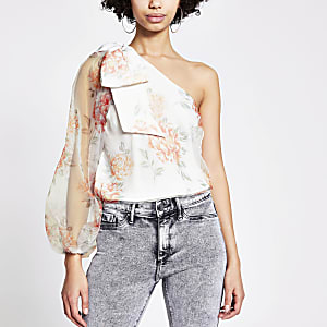 White floral one sleeve organza top