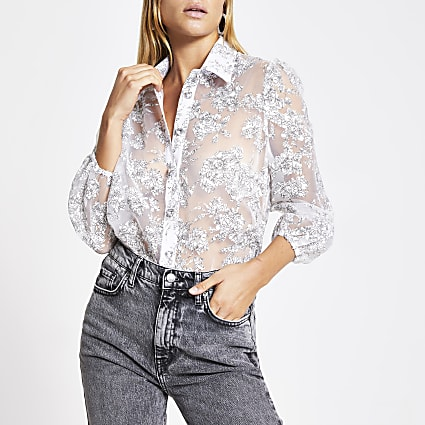 White floral organza long sleeve shirt