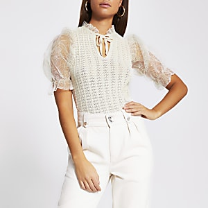 White floral organza sheer sleeve top