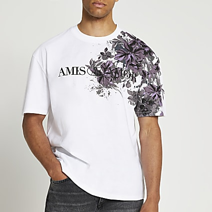 White floral oversized fit graphic t-shirt