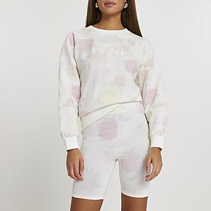 White floral print cycling shorts