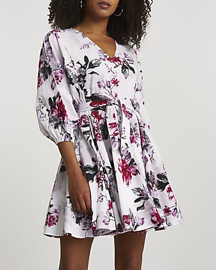 White floral print mini dress