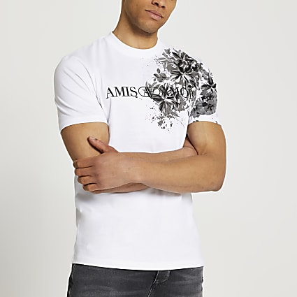 White floral print short sleeve t-shirt