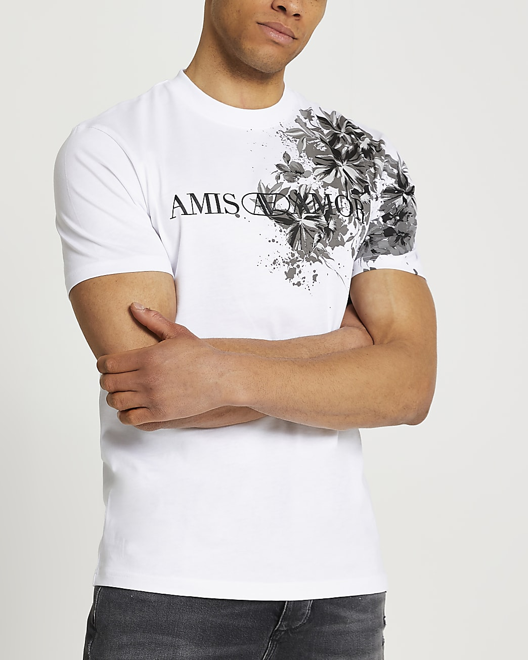 White floral print slim fit graphic t-shirt