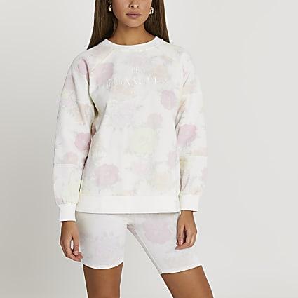 White floral print sweatshirt