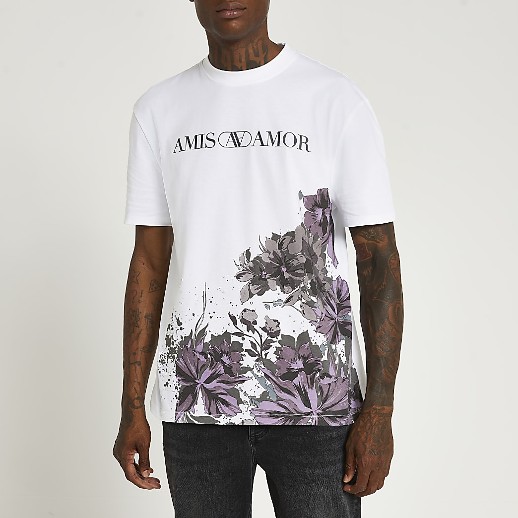 White floral regular fit graphic t-shirt