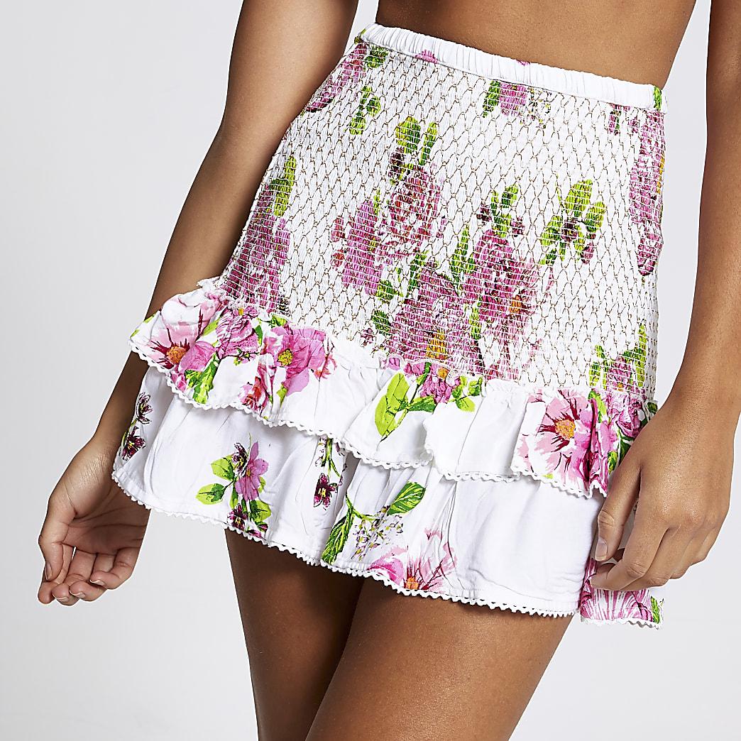 White floral shirred mini beach skirt