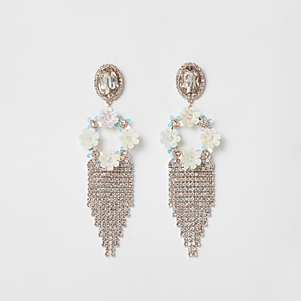 White floral tassel drop earrings